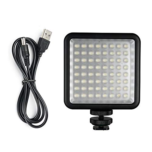 QWERTOUY 64 LED Foto Video lamp licht op de camera Hot Shoe LED-verlichting voor iPhone Camcorder voor foto-streaming, A
