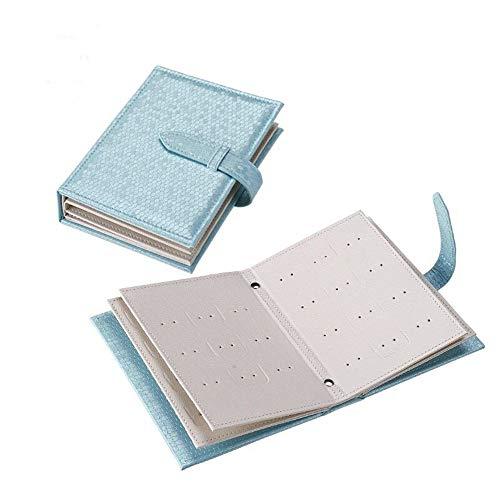 ZYC Espárragos creativos Pendientes Colgantes Pendientes de Almacenamiento Libro Raya Caja de Joyería Portátil Organizador Viajes Caso de Regalo de Pantalla de Cuero,Blue