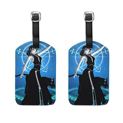 WINCAN Etiquetas de Equipaje (variadas,2PK),Hechicera Pantera Negra Poder de invocación,Etiqueta de Equipaje para Equipaje,Mochilas Etiquetas de Maleta