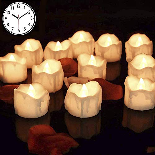 IWILCS 12 Stück LED Teelichter Kerzen, LED Teelichter mit Timer, Blinkend Elektrische Teelichter Kerze mit Timerfunktion Beleuchtung Lights,für Weihnachten Weihnachtsbaum Ostern Hochzeit Party