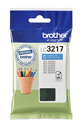 Brother LC3217C Cartucho de tinta cian original para las impresoras MFCJ5330DW, MFCJ5730DW, MFCJ5930DW, MFCJ6530DW, MFCJ6930DW y MFCJ6935DW duración estimada hasta 550 páginas (ISO/IE 24711)