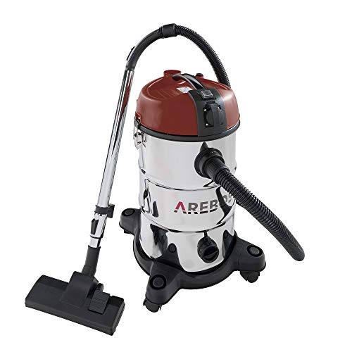 Arebos Industriestaubsauger- Rot/ 30L Fassungsvermögen/ 2300W/ Mit zusätzlicher Steckdose/Ausblasfunktion/Idealer nass trocken Staubsauger auch zum Asche saugen