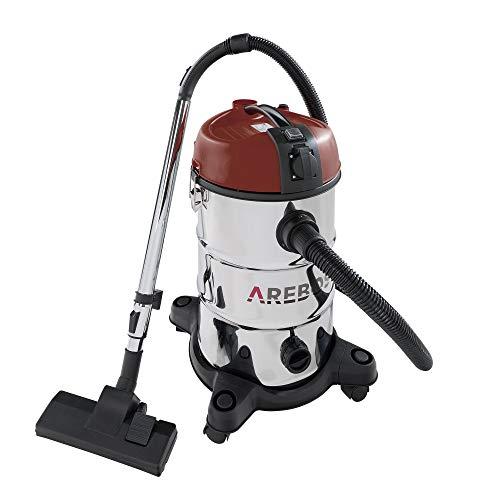 Arebos Aspirateur industriel rouge - Capacité : 30 l - 2300 W - Avec prise supplémentaire - Fonction de soufflage - Aspirateur eau et poussière - Idéal pour aspirer les cendres