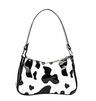Women Cow Print Shoulder Bag Clutch Purse Underarm Handbag Satchel Zipper Tote Bag Small Purse