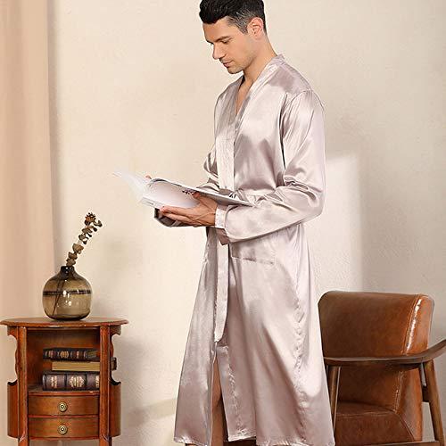 SDCVRE Pijama camisón de Invierno,Men's Bathrobe Satin Silk Sleepwear Solid Color Nightwear Kimono Casual Nightgown Pajama Male Robe,Silver Gray,XL