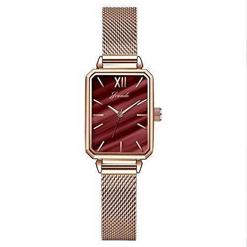 Reloj cuadrado pequeño de las señoras de cuarzo, correa de metal de cuero, reloj retro de las señoras, reloj de moda simple, reloj cuadrado pequeño, reloj, reloj casual de señoras, malaquita verde