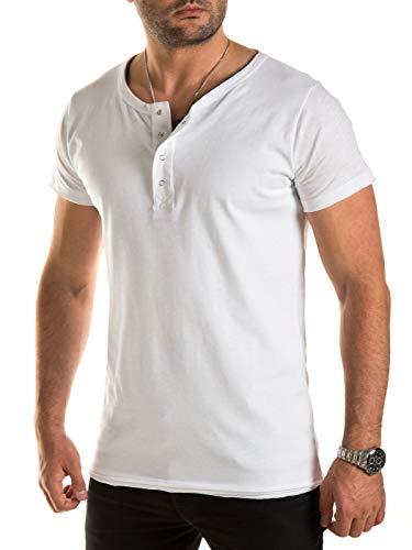 WOTEGA Herren T Shirts in 2-in-1 Optik - Weißes Sommer Tshirts Männer Weiss Shirt Rundhals V-Neck Ausschnitt, Weiß (Cloud Dancer 114201), XL