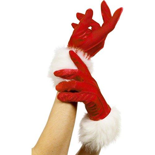 Amakando Kurze Weihnachtshandschuhe Weihnachtsmann Handschuhe Damen Weihnachten Damenhandschuhe Sex y Frauenhandschuhe Nikolaus Santa Gloves Weihnachtsfrau Kostüm Zubehör
