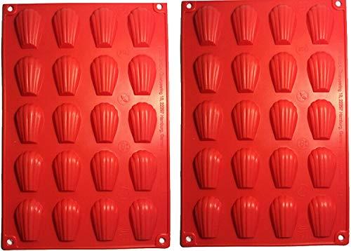 Lot de 2 mini plateaux à madeleines rouges en silicone avec 20 cavités en forme de coquillage