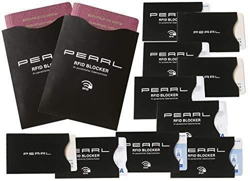 PEARL Kreditkartenschutz: RFID-Schutzhüllen im 12er-Set für Reisepass, Personalausweis, EC-Karte (RFID Blocker)
