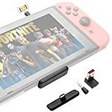 GuliKit Route Air Pro Bluetooth Adapter for Nintendo Switch & Lite, Dual Stream Bluetooth Wireless Audio Transmitter with aptX LL, Support in-Game Voice Chat, Connect Your Bluetooth Headphones - Black