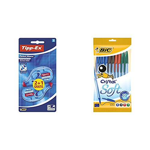 Tipp-Ex Pocket Mouse Cinta Correctora, No necesita Secado + BIC Cristal Soft bolígrafos punta media (1,2 mm) con escritura suave