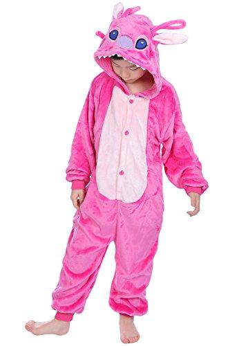 Dolamen Nios Unisexo Onesies Kigurumi Pijamas, Nia Traje Disfraz Animal Pyjamas, Ropa de dormir Halloween Cosplay Navidad Animales de Vestuario (130-140CM (51 '-55'), PinkStitch)