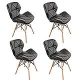 1 juego de 4 sillas nórdicas de estilo medieval, patas de madera de haya, cuero sintético, soporte de metal, estilo retro, adecuado para restaurantes de cocina (negro)