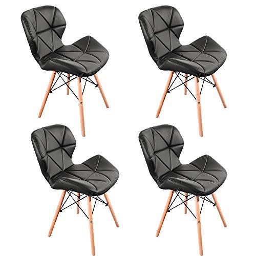 Lot de 4 chaises de salle à manger modernes en PU avec des fauteuils noeuds en métal, pieds en hêtre et accessoires de matériel de travail, simples chaises de salon et de bureau (noir)