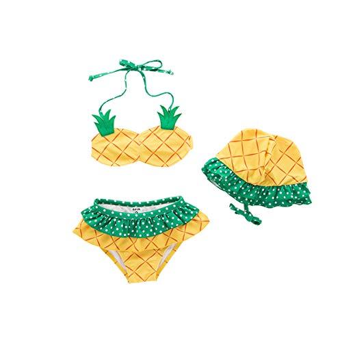 BabyPreg Bañador de piña/Fresa Bikini Sling SPA para niñas niños para bebés 3PCS (Piña, 2T)