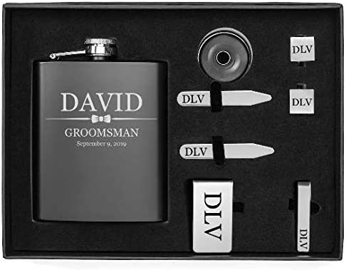 Engraved 7oz Flask, Funnel, Money Clip, Tie Bar Clip, Square Cuff Links, Collar Stays Set Gift Box Set Wedding Bow Tie Personalized