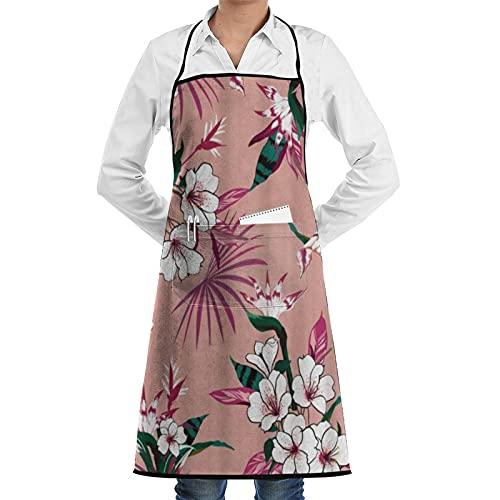FAKAINU Delantales de cocina para mujeres y hombres, delantal impermeable, brillante sin costuras, hermoso artístico fresco, delantal con 1 bolsillos para cocina casera, cocina de restaurante, cafete