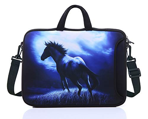 17.3-Inch Laptop Shoulder Sleeve Bag Case With Handle For 17 17.3' Acer Dell Hp (Blue Horse)