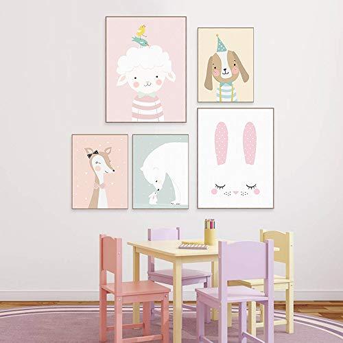 Juego de 4 pósteres para habitación de bebé, tamaño DIN A4, decoración...