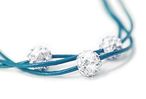 Señoras collar de Shamballa collar de cuero collar con 3 bolas Strass plata 'lagune' NUEVO