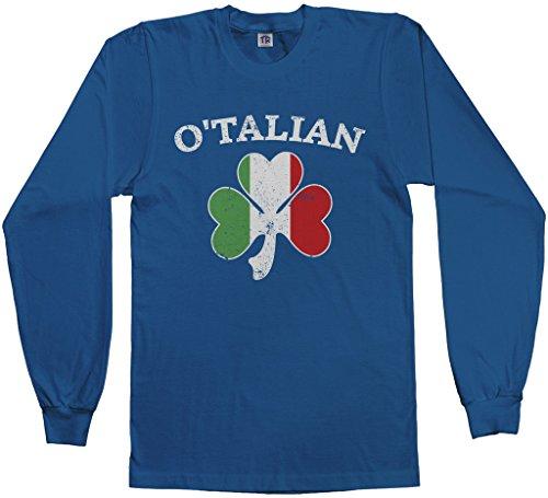 Threadrock Men's O'Talian Italian Irish Shamrock Long Sleeve T-Shirt S Royal Blue