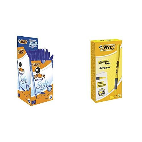 BIC Cristal Soft bolígrafos punta media (1,2 mm) - Azul, Caja de 50 unidades + Highlighter Grip Marcadores Punta Biselada Ajustable - Amarillo, Caja de 12 Unidades