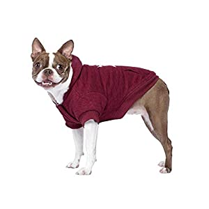 Canada Pooch Cozy Caribou Sherpa Lined Fleece Dog Hoodie, Maroon, Size 20+, 20+ (19-21″ Back Length, Relaxed fit)