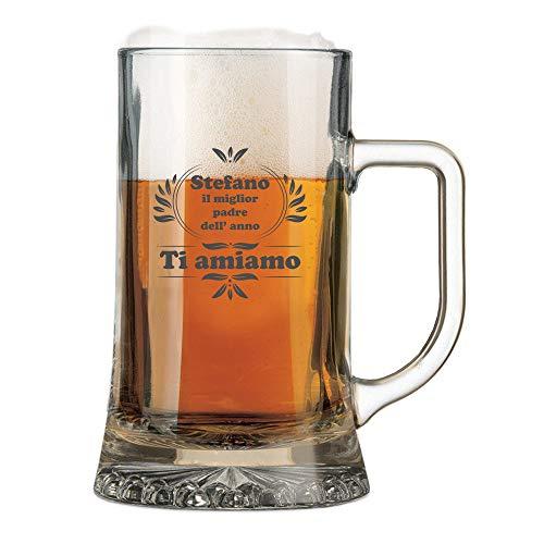 Boccale da Birra Personalizzato con Nome Incisione Festa del papà (Nome) Il miglior Padre dell'anno - Idea Regalo papà - Regali Originali - Bicchiere in Vetro Chiaro, ca 50cl