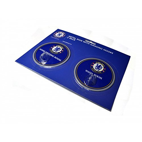 Chelsea FC Official Soccer Robe Hook Sign (Pack Of 2) (One Size) (Blue)