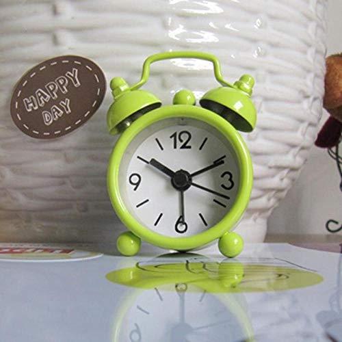 FPRW Retro draagbare dubbele bel wekker mini cartoon schattige wekker met twee ronde cijfers van Bell bureauklok digitale tafel groen (6,3 x 4,7 cm)