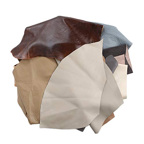 Chutes de cuir 1 kg Format A4 Idéal pour travaux d'artisanat - Nuances variées de marron