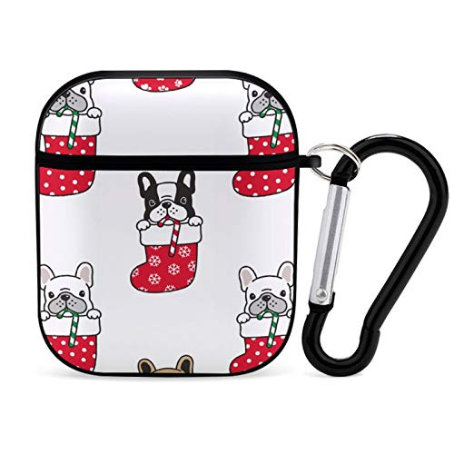 French Bulldog Christmas Sock Santa Claus Xmas Snowflake Candy Cane Dog Paw Airpods Case with Keychain and Accessories,Hard and Shockproof Airpods Case Cover for Women and Men,for Air pod 2 and 1 Blac