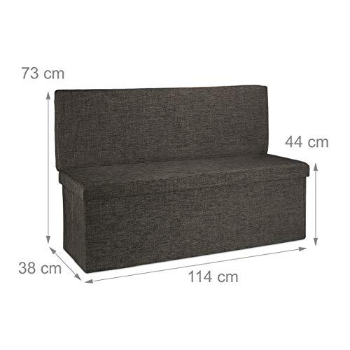 Relaxdays Faltbarer Sitzhocker mit Lehne XL HBT 73 x 114 x 38 cm stabiler Sitzcube als Fußablage Sitzbank und Sitzwürfel aus Leinen als Aufbewahrungsbox mit Stauraum mit Deckel für Wohnraum, braun - 4