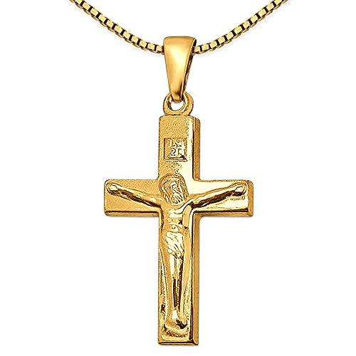 Clever Schmuck Set gouden hanger Jezus kruis 21 mm, brede balken, eenvoudig en glanzend 333 goud 8 karaat met vergulde ketting Venezia 42 cm