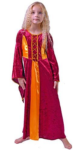 Mittelalter Haarband Helena für Mädchen Burgunderrot Gold - 5