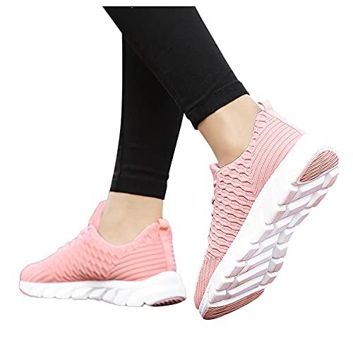 Zapatillas Mujer Hombre Deportivas Casual Zapatos Caminar de Suave Planas Calzado Malla de Ligeras Transpirable Zapatos Deporte de Correr Running Sneakers Negro Blanco Rosa 36-42