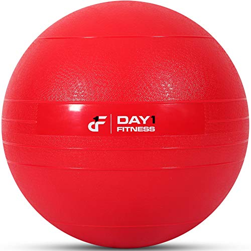 Weighted Slam Ball by Day 1 Fitness – 45 lbs RED - No Bounce Medicine Ball - Gym Equipment Accessories for High Intensity Exercise, Functional Strength Training, Cardio, CrossFit