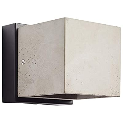 Rivet Modern Concrete Cubic Outdoor Porch Light Wall Sconce with Integrated LED Light - 4.75 x 5.63 x 4.75 Inches, Black Base
