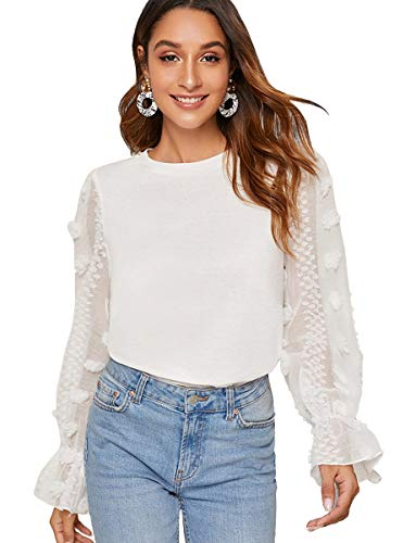 Romwe Women's Casaul Mesh Long Sleeve Round Neck Solid Blouse Top Tee XL White