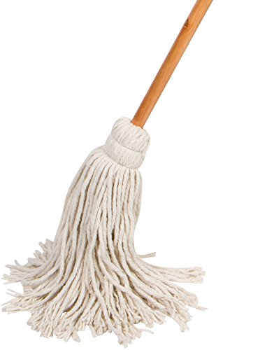 American Market Large Wet Deck Cotton Mop with Solid Wood Handle (11 Oz, White)