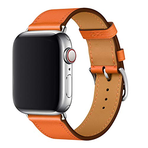 XCool Compatible con Correa Apple Watch 38mm 40mm, Cuero Amarillo para Hombres Mujer para iwatch SE Serie 6 Serie 5 Serie 4 Serie 3 (38mm/40mm, naranja)