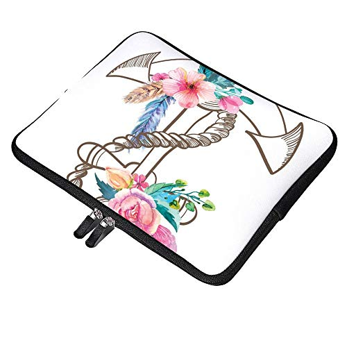 Watercolor Spring Blossoms And Feathers 10 Inch Laptop Sleeve Case Protective Cover Carrying Bag for 9.7' 10.5' iPad Pro Air/ 10' Microsoft Surface Go/ 10.5' Samsung Galaxy Tab