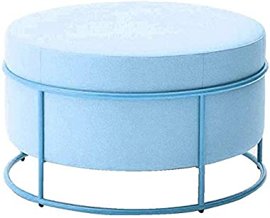 FJFDZ Makeup Stool Footstool Ottoman Pouffe Small Bench Low Stools European Style Metal Upholstered Change Shoes Strong and D