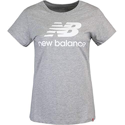 New Balance Essentials Stacked Logo - Camiseta para mujer gris S
