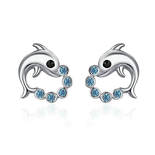 YINGLAN Pendientes De Mujer, Pendientes De Delfines Y DiamantesS925Pendientes, Pendientes De Mujer