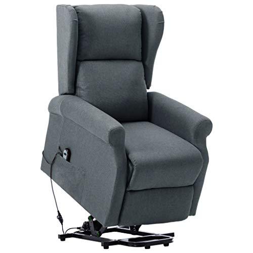 vidaXL Aufstehsessel Elektrisch Sessel mit Aufstehhilfe Liegesessel Fernsehsessel Relaxsessel TV Ruhesessel Polstersessel Hellgrau Stoff