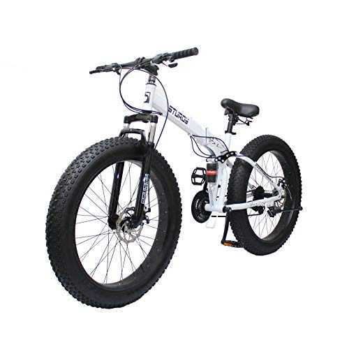 STURDY BIKES Foldable Fat Mountain Bike with 26X4 Inch Tyres (White)