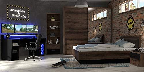 möbel-direkt Jugendzimmer Gaming Zimmer Tezaur Jacky 5 Teilig Gamer Tisch Computertisch, Bett, Schwebetürenschrank, Standregal