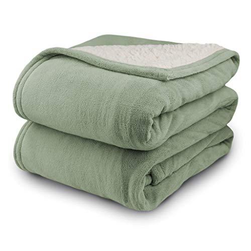 Biddeford 2061-9052140-633 MicroPlush Sherpa Electric Heated Blanket Full Sage